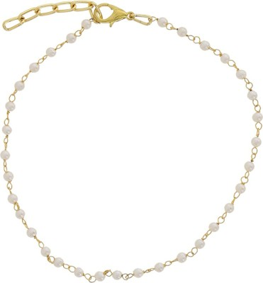 Niara Small White Pearls Adjustable Gold Metal Anklet