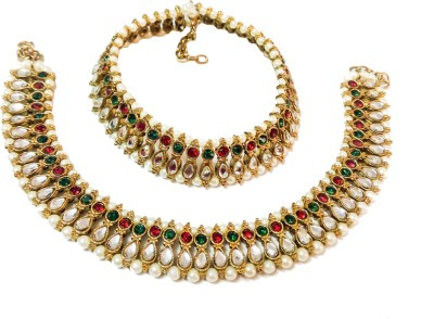 Glittering World Designer Red & Green Kundan and Pearl Alloy, Stone Anklet