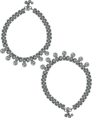 Zaveri Pearls Set of 2 glamorous Silver Tone Zinc Anklet(Pack of 2) at flipkart