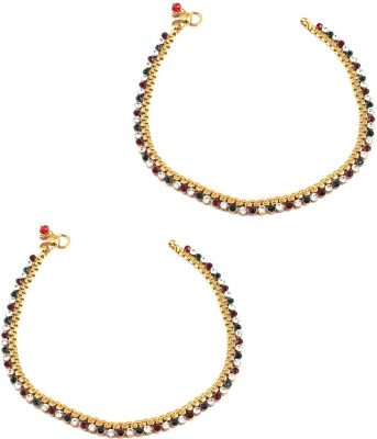 Orniza Golden base Payal attached with single line Stones in Red & Green color Brass Anklet(Pack of 2) at flipkart