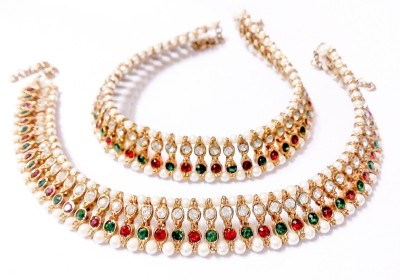 Glittering World Long Pearl & Stone In Red And Green Alloy Anklet