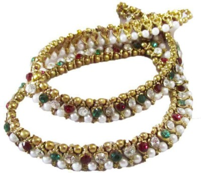Glittering World Designer Red & Green Stone and Pearl Alloy Anklet