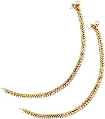 Orniza Golden base Payal attached with single line Stones Brass Anklet(Pack of 2) at flipkart