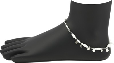 High Trendz White Beads With Silver Circles Alloy Anklet