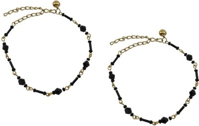 High Trendz Mystic Golden Black Crystalz Alloy Anklet