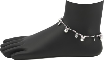 High Trendz Purple Beads With Silver leaves Alloy Anklet