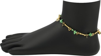 High Trendz Green Beads With Golden Hearts Alloy Anklet
