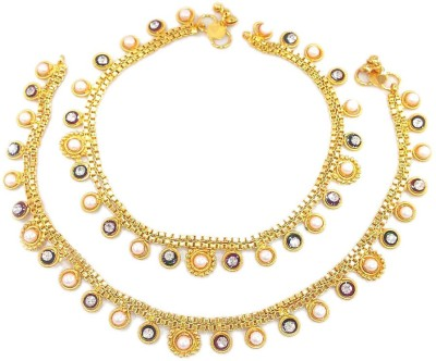 Jewar Mandi Latest Jewellery Alloy Anklet(Pack of 2) at flipkart
