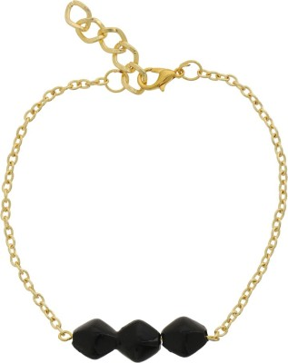 Niara Black Three Studs Gold Metal Anklet