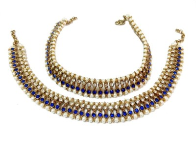 Glittering World Long Pearl & Stone In Blue Alloy Anklet
