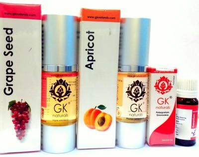 GK Naturals Age Revitalising Premium Combo-Pack of 3-( Grapeseed, Apricot With Geranium Essential) 70 ml