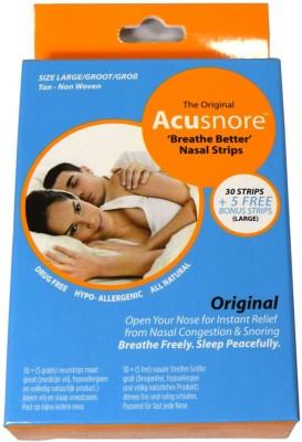 Acusnore Nasal Congestion ,Breathe Better, Strips - LARGE- 30 Strips + 5 Free Bonus Strips Anti-snoring Device