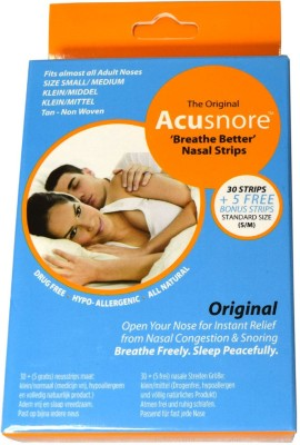 Acusnore Anti Snoring & Nasal Congestion ,Breathe Better, Nasal Strips - SMALL/ MEDIUM- 30 Strips + 5 Free Bonus Strips Anti-snoring Device