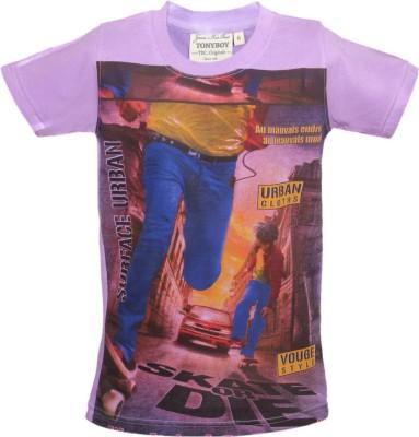 Tonyboy Printed Boys Round Neck Purple T-Shirt