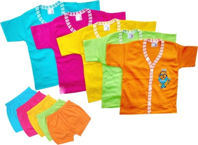 LITTLE FEETZ Baby Boy's Solid Multicolor Top & Shorts Set