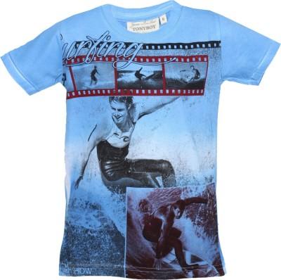 Tonyboy Printed Boy's Round Neck Blue T-Shirt