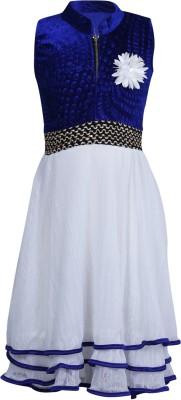 Crazeis Girl's Gathered Blue, White Dress