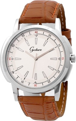 Gesture Gesture 5024-Silver Dial Brown Strap Watch Analog Watch  - For Men