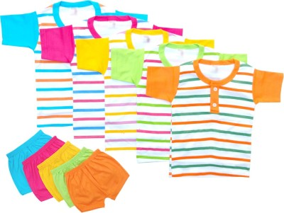 LITTLE FEETZ Baby Boy's Striped Multicolor Top & Shorts Set