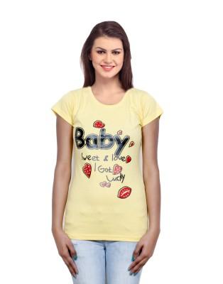 IndiWeaves Casual Short Sleeve Printed Girl's Yellow Top