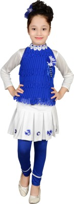 Angel Creations Girl's Gathered Blue Dress