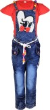 Crazeis Girls Casual Dungaree (Red)
