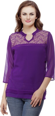 MASK LIFESTYLE Casual 3/4 Sleeve Solid Women,s Purple Top