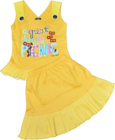 ELK Girls Casual Top Skirt(Yellow)