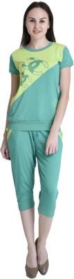 Rakshita's Collection Women's Solid Light Green Top & Capri Set