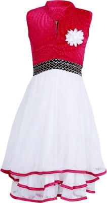 Crazeis Girl's Gathered Pink, White Dress
