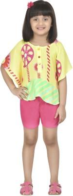 Masaba for Magic Fairy Casual Sleeveless Printed Girl,s Green, Yellow, Pink Top