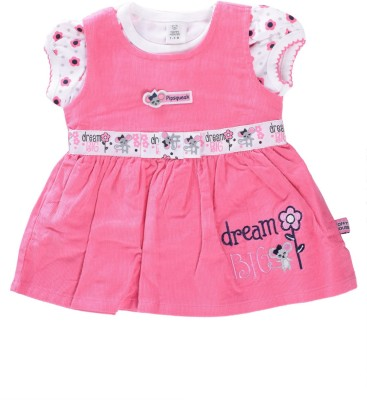 Toffy House Girl,s Gathered Pink, White Dress