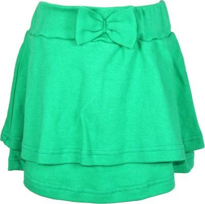 Lil Orchids Embellished Girl,s Regular Green Skirt