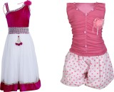 Crazeis Girls Top Skirt (Pink)