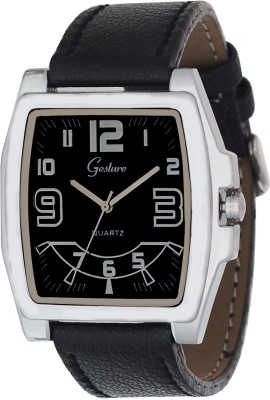 Gesture Gesture Stylo Black Inverted Rectangular Watch Stylo Analog Watch  - For Men