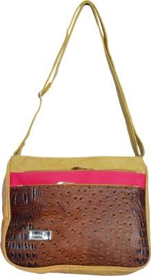 Kshipra Fashion Girls, Women Pink, Brown Leatherette Sling Bag
