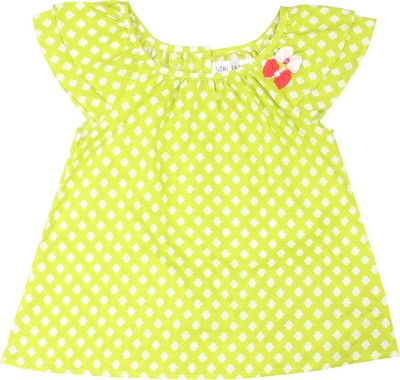 Soul Fairy Casual Cap sleeve Polka Print Baby Girl's Light Green Top