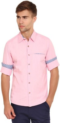 Wajbee Men's Solid Casual Pink Shirt
