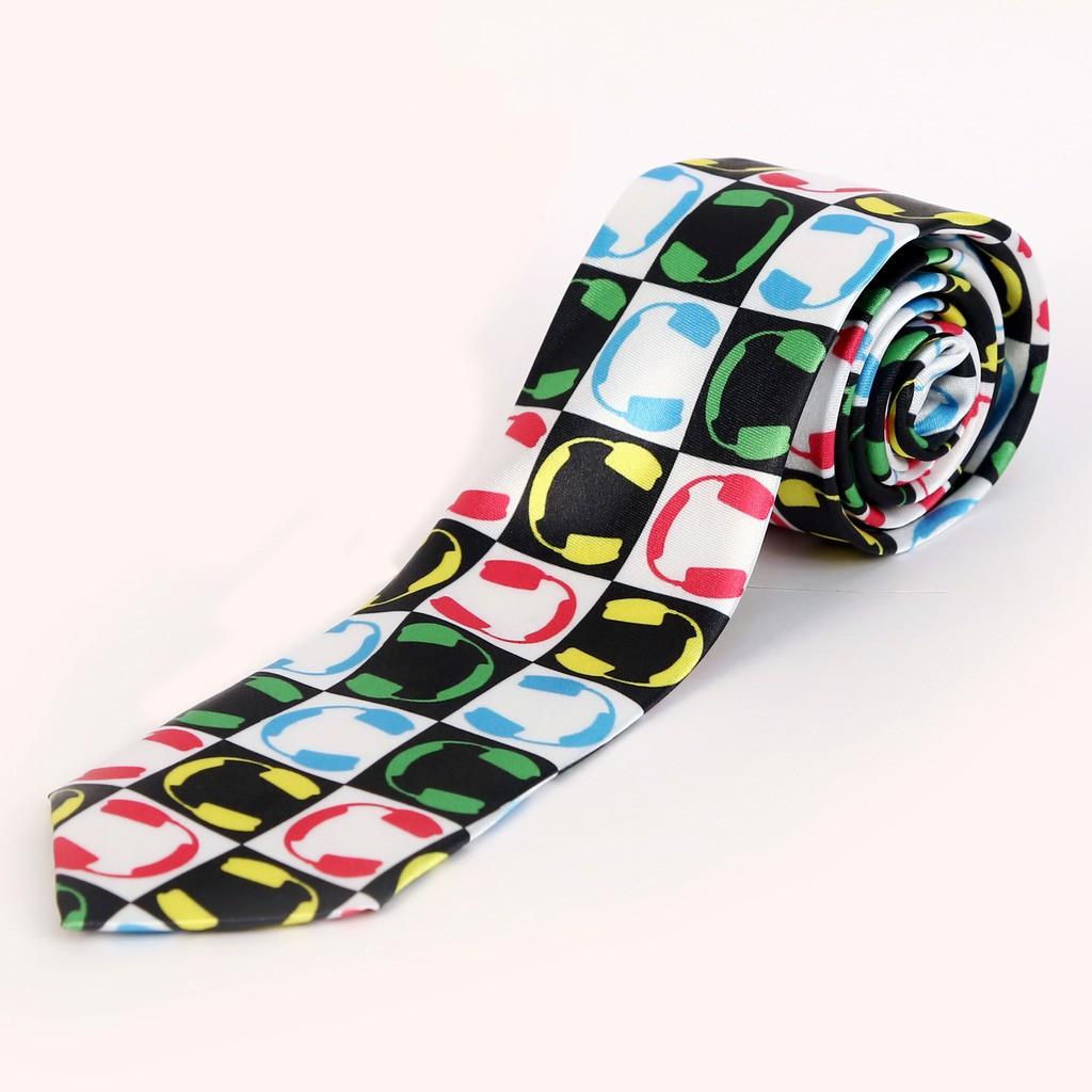 Blacksmith Dj White Headphones Design Graphic Print Men's Tie
