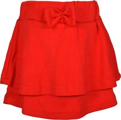 Lil Orchids Embellished Girl,s Regular Red Skirt