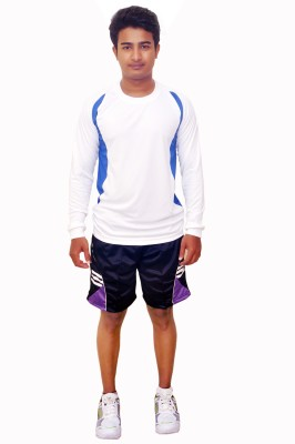 Dyed Colors Striped Men's Blue, Purple Sports Shorts