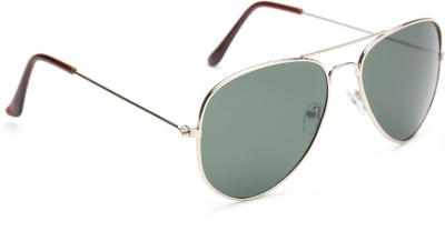 Agera Agera AG1001 classic gold aviator sunglass with greenish grey lens Aviator Sunglasses(Green)