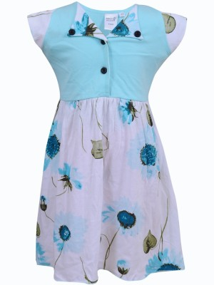 Most Wanted Girl's Gathered Light Blue, White Dress
