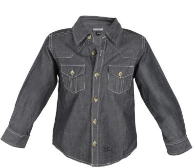 Tonyboy Boy's Solid Casual Black Shirt