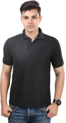 Kvell Be Proud Solid Men's Polo Neck Black T-Shirt