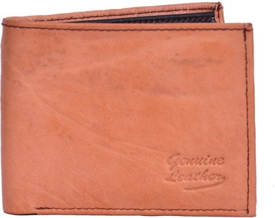 Domestiq Men Formal Tan Genuine Leather Wallet(6 Card Slots)