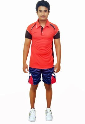 Dyed Colors Striped Men's Blue, Red Sports Shorts