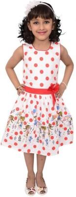 Arshia Fashions Girl's Gathered Orange Dress