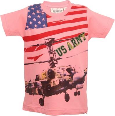 Tonyboy Printed Boy's Round Neck Pink T-Shirt