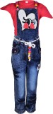 Crazeis Girls Casual Dungaree (Pink)